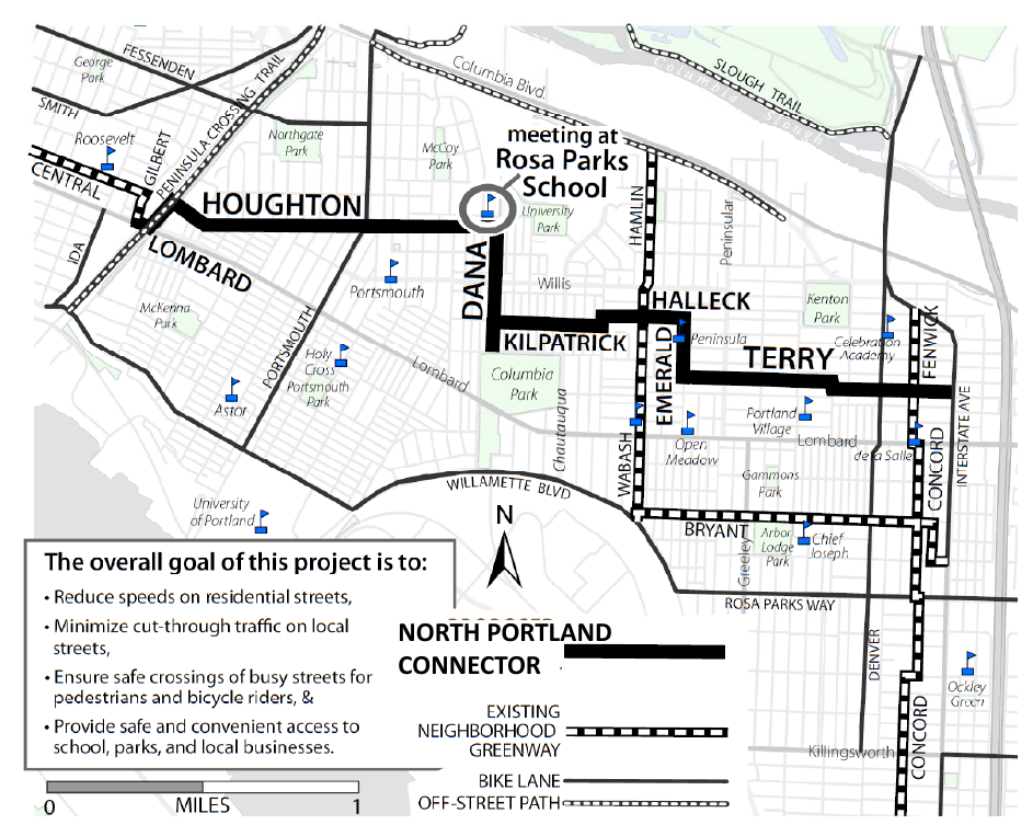 A map of a planned neighborhood greenway sent by the City of Portland to every nearby home.