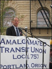 TriMet GM Neil McFarlane speaks at an ATU rally in 2010