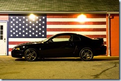 car and American flag
