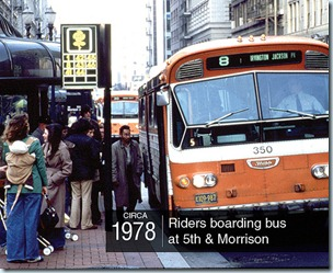 orange TriMet bus on the Transit Mall, 1978