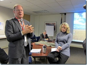 General Manager Neil McFarlane, left, with board president Bruce Warner and spokeswoman Mary Fetsch
