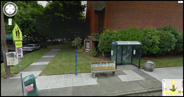 empty bus stop with shelter